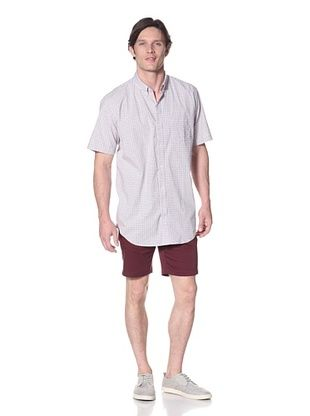 Viyella Men's Short Sleeve Garment Washed Stretch Shirt
