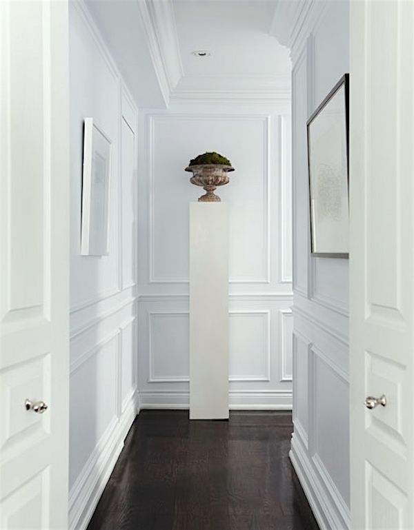 Help For A Long Boring Hallway {and what not to do} - laurel home | beautiful mouldings in this hall | original source unknown | white paint | wainscoting