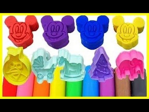 Family Mickey Mouse Molds Fun! \ Learn Colors Play Doh Animal \ Finger Family Nursery Rhymes