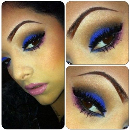 : Gorgeous Eye, Eye Color, Eye Shadows, Cobalt Blue, Blue Eye Makeup For Brown Eye, Bold Colors, Electric Blue, Blue And Brown Eyeshadows, Blue Eyeshadows