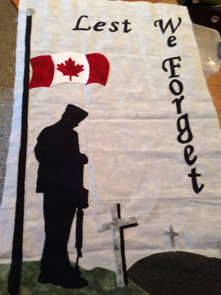 Remembrance Day wall hanging in the works. Fabric and pattern from H. CORRINE HEWITT QUILT HANNA AB