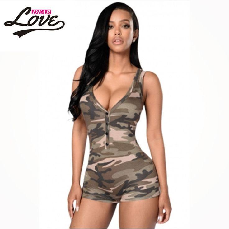 Army Camouflage Shorts Bodysuit Combinaison Femme LC64071 shorts feminino playsuit 2017 Sexy Romper Playsuit V-neck Sleeveless