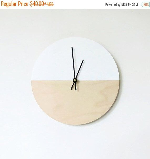 Sale, Wall Clock, Trending Minimalist Art,  Natural Wood and White,  Housewares, Small Clock,   Home and Living, Unique Wall  Clock by Shannybeebo on Etsy https://www.etsy.com/listing/242401485/sale-wall-clock-trending-minimalist-art