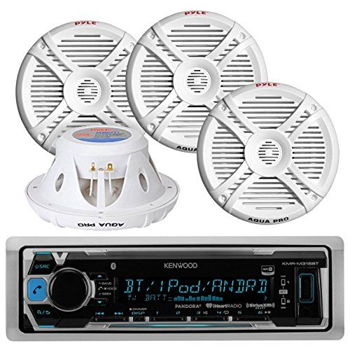 Special Offers - Kenwood KMRM315BT Waterproof Bluetooth Marine Boat Yacht Digital USB AUX Radio Stereo Player With 4 X 280 Watts 7.7-Inch 2 Way Marine Audio Speakers System  Complete Marine Outdoor Audio Package - In stock & Free Shipping. You can save more money! Check It (July 30 2016 at 03:30PM)…
