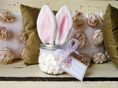 fill a jar with mini marshmallows, ears from a headband found at the dollar store glued on top of lid, a cotton ball for a tail and a cute tag makes a fun easter favor. SUPER CUTE!