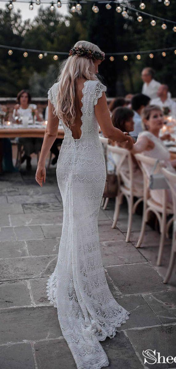 Backless Lace Boho Mermaid Wedding Dresses Cap Sleeve Bohemian