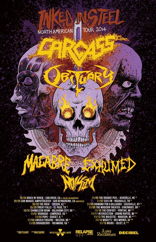 """NEWS: The metal band, Carcass, have announced a U.S. tour for the fall, called the """"Inked In Steel Tour."""" Obituary, Exhumed, Macabre and Noisem will be supporting the tour. You can check out the dates and details at http://digtb.us/1x8Tzha"""