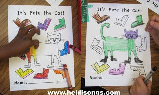 Pete the Cat Freebies- Guided Drawing, and More! | Heidi Songs