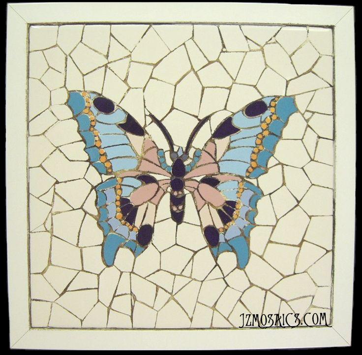 Mosaico en trencadís.  Enmarcada (30 x 30 cm). Piezas únicas, trabajadas totalmente a mano.