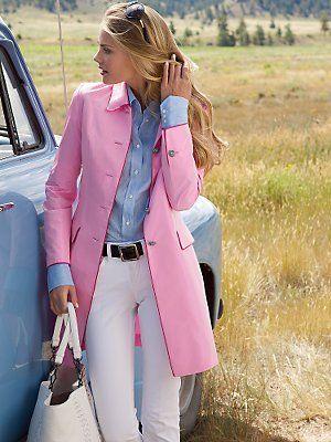 Pink coat, white jeans, crisp blue shirt