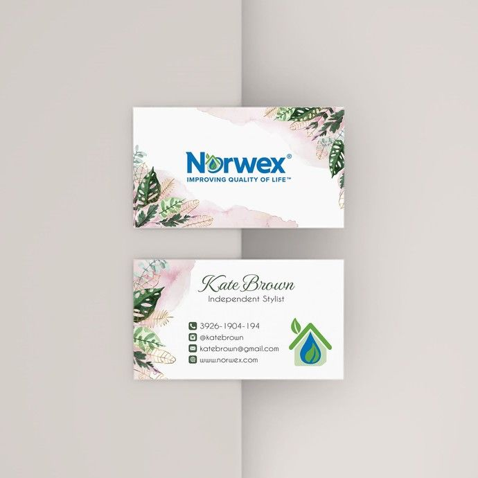 Leaves Norwex Business Cards Personalized Gold Norwex Template Nw11 Floral Business Cards Gold Credit Card Norwex