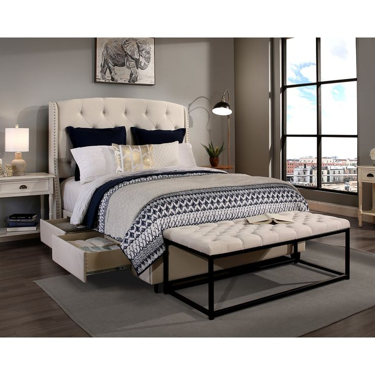 Republic Design House Peyton Ivory King/Cal King Headboard, Storage bed and Wide Tufted Flat Bench Collection (Peyton Ivory King/Cal King Hdbd-Flat Bench Only) Cream
