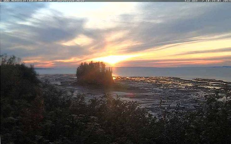 Sunset at Burntcoat Head, Nova Scotia - October 7th, 2014.  www.novascotiawebcams.com/en/webcams/burntcoat-head/