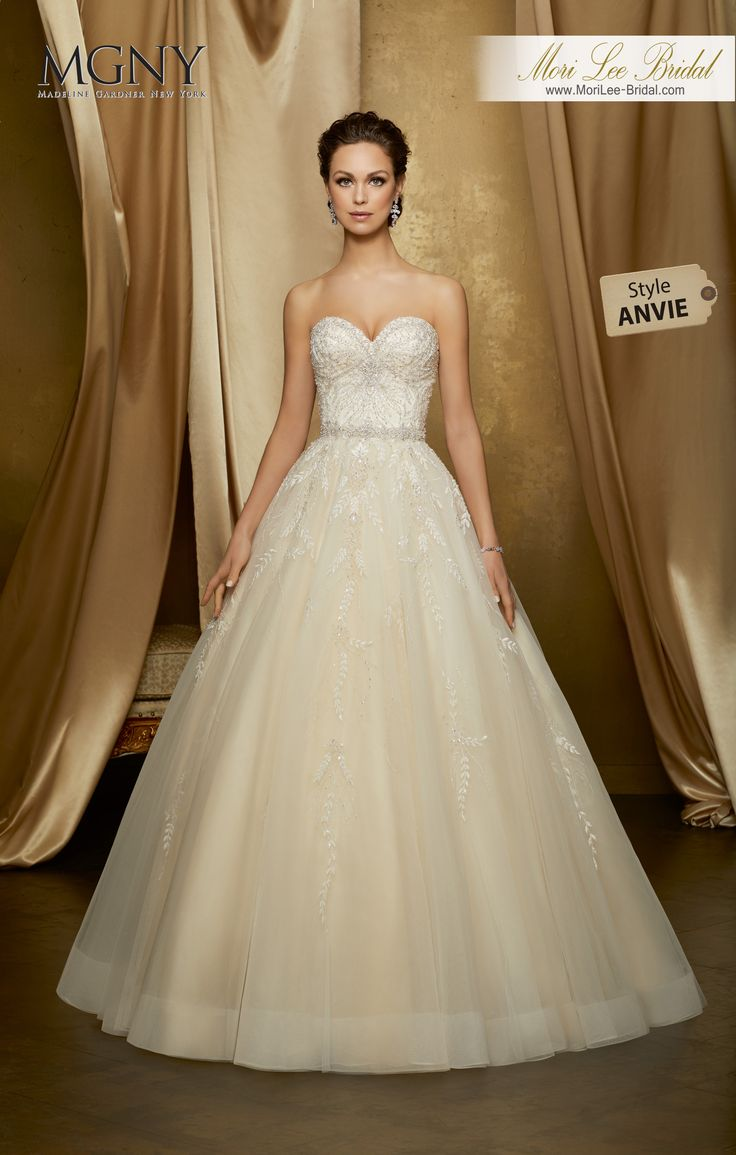 Style ANVIEOrchidDiamanté and crystal beaded, embroidered appliqués on a tulle ball gown with diamanté encrusted waistband