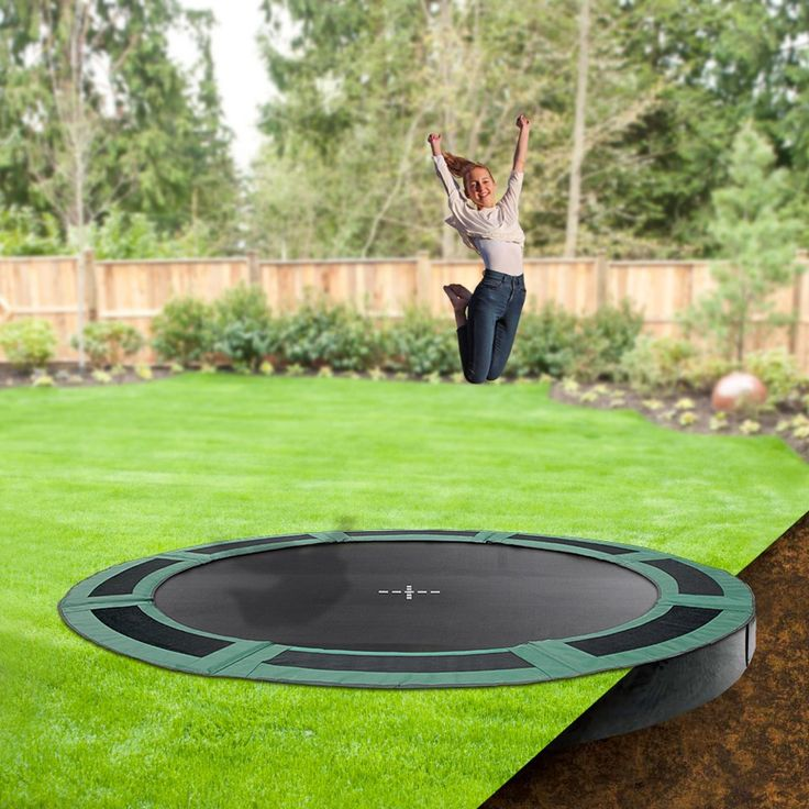 12ft round in ground trampoline inground trampolines backyard backyard play in ground. Black Bedroom Furniture Sets. Home Design Ideas