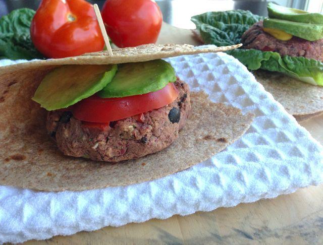 Mediterranean Bean Burgers on whole-grain (or corn) tortilla by Dreena Burton from plant-powered kitchen