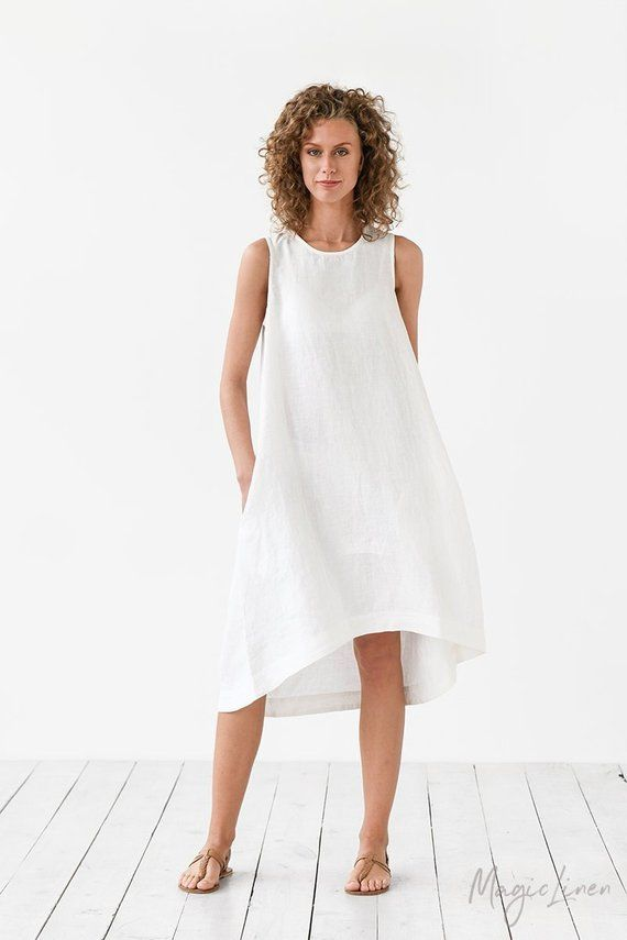 c5a617a005 White linen dress TOSCANA. Asymmetrical