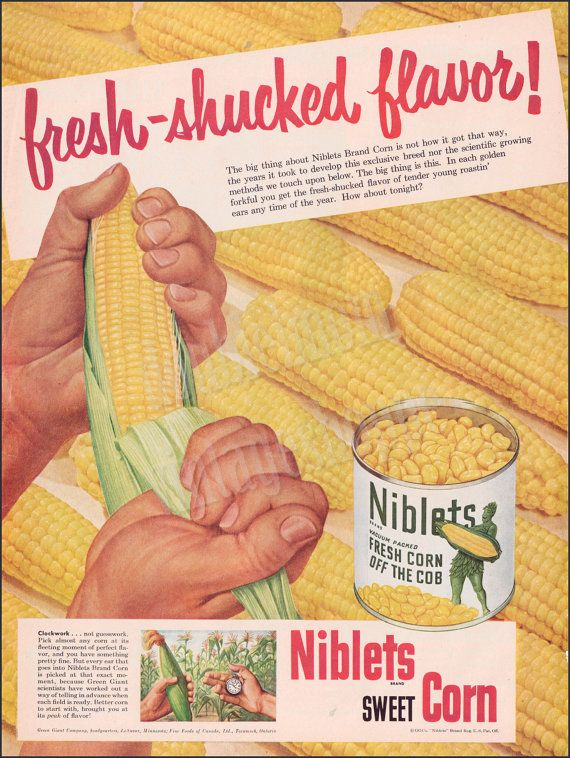 "1951 Niblets Sweet Corn Vintage Print Ad  // Jolly Green Giant Ad Art // 10"" x 13"""