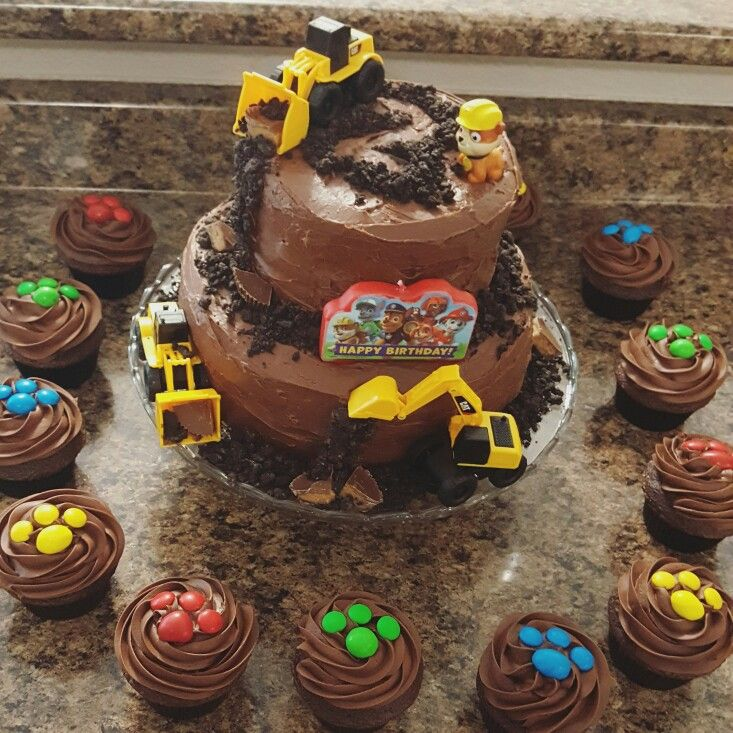 Paw patrol construction rubble cake