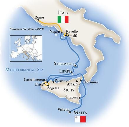 Luxury Italy cruise tour visits Rome and Amalfi Coast by land. Sail Sicily, Aeolian Islands, Malta. All inclusive trip includes guided tours, meals, more.
