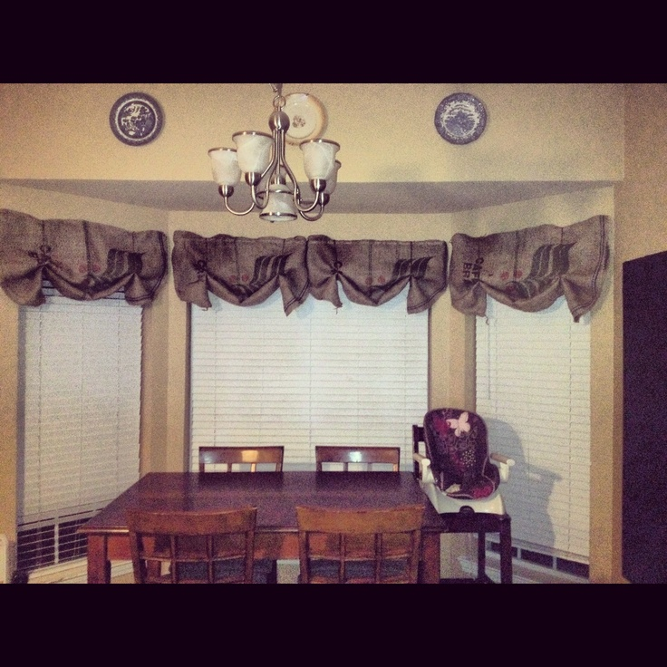 Burlap coffee sacks as curtains in my kitchen