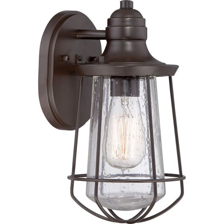 View the quoizel mre8406 marine 1 light 12 tall outdoor wall sconce with seedy glass