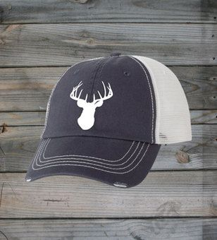 FRONT VIEW - Country Girl ® White Deer Head Trucker Hat  #CountryGirl #CountryMusic #CountryLife
