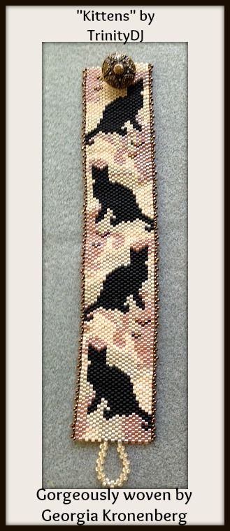 """New in my etsy shop : """"Kittens"""" - Odd Count Peyote Stitch One of a kind Bracelet Pattern. https://www.etsy.com/listing/158947179/bp-an-021-kittens-odd-count-peyote?ref=v1_other_2"""