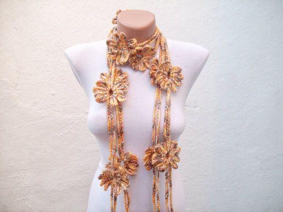 Handmade crochet Lariat Scarf  Yellow Brown Flower by scarfnurlu