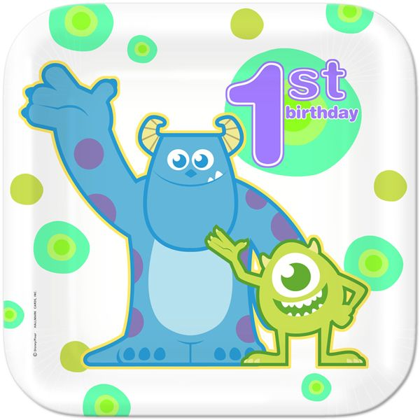 Monsters Inc 1st Birthday Lunch Plates (8)
