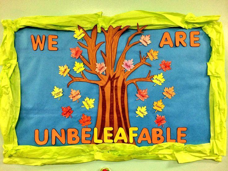 Welcome Fall in an UNBELEAFABLE way!! #kindergarten #bulletinboard #leaves #tree #fall #creativeideas
