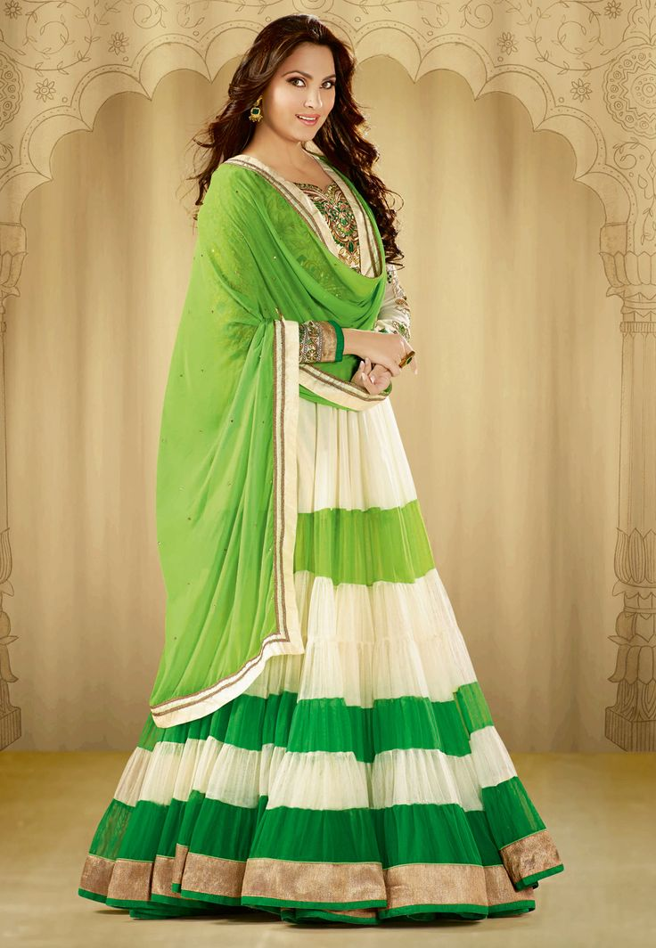 White And Green Churidar Kameez Bollywood Outfits