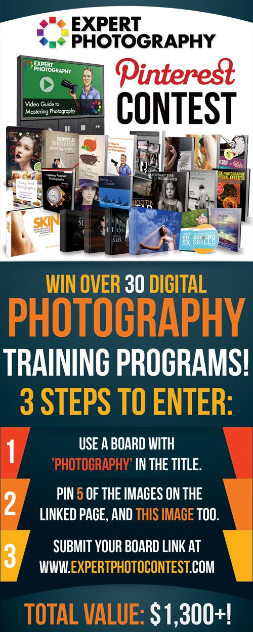 Win over $1,300 worth of digital #photography training programs for #photographers- click through to https://expertphotography.com/store/contest/