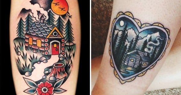 22 Log Cabin Tattoos To Give You That Rustic Feeling!