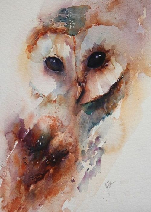 Watercolor owl – can't believe how real those eyes look