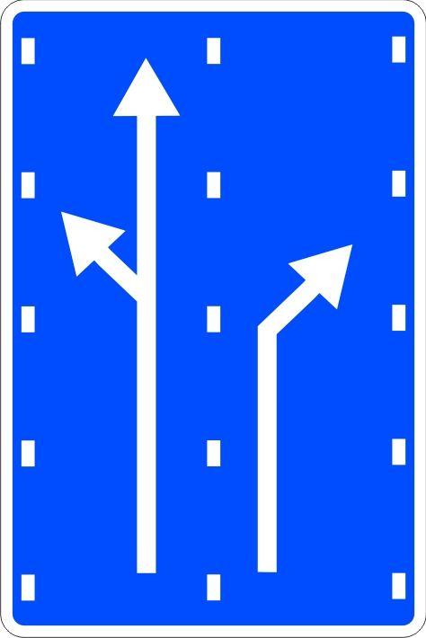 Señal vial de orientación. Preseñalización
