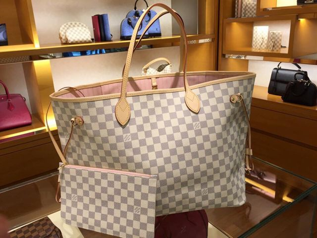 Louis Vuitton Damier Azur Neverfull MM with rose ballerine interior
