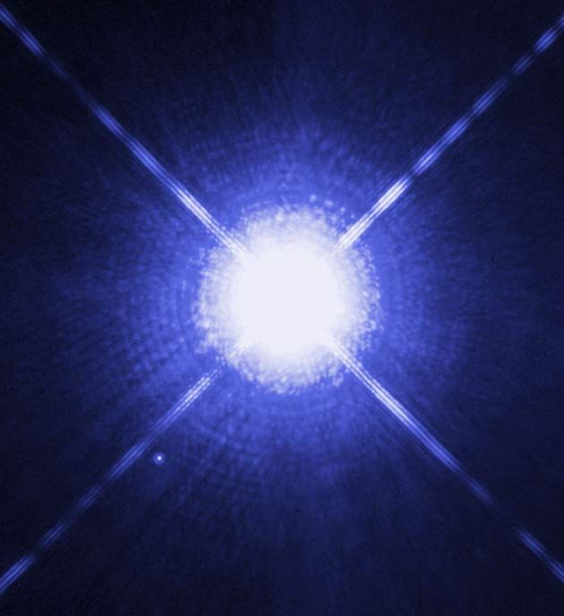 Sirius A may be the most luminous star known — a celestial mammoth 25,000 light-years away that releases up to 10 million times the energy of the sun and is big enough to fill the diameter of Earths orbit. -Credit: NASA, ESA - http://www.space.com/17319-extreme-night-sky-stargazing-objects.html
