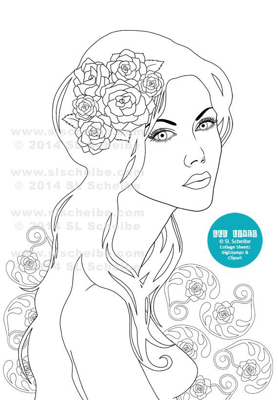 A Digistamp Of A Beautiful Art Nouveau Girl With Long Flowing Hair And P Pretty Roses In Her
