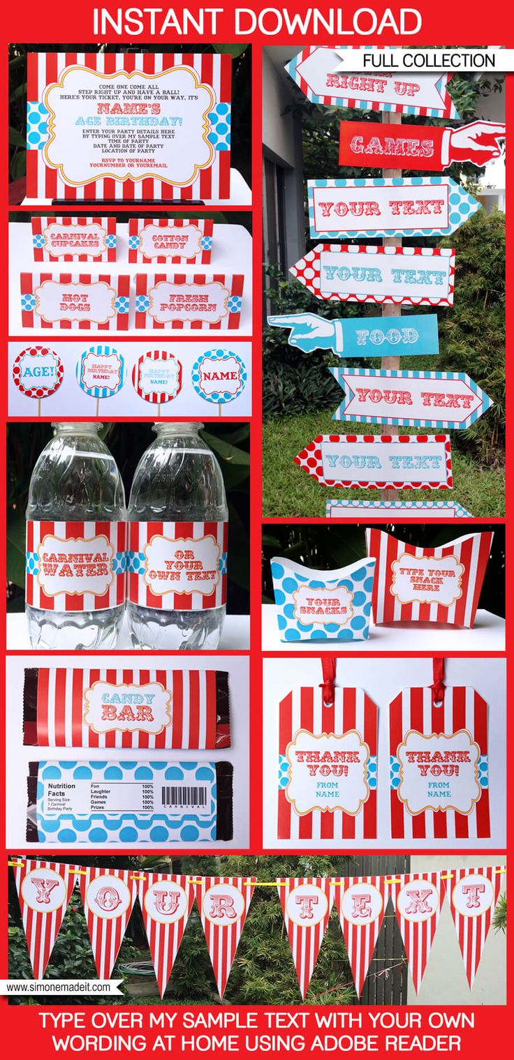 Instantly download my Carnival or Circus Party Printables, Invitations & Decorations! Personalize the templates at home & get…