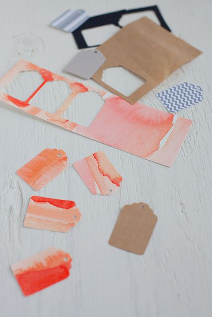 Watercolor gift tags - paint and punch them out // decor8