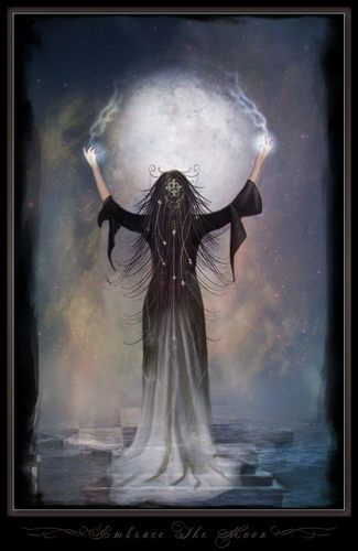 The moon goddess: connected to our hidden psychic power, our intuition. She help us to deal with our emotions, our pulsion. Also, she brings to humanity a sweet light in there dark night of the soul. When we loose ourself, the connection with the highest self, she carry a lights that might help us to see in our shaddow path.