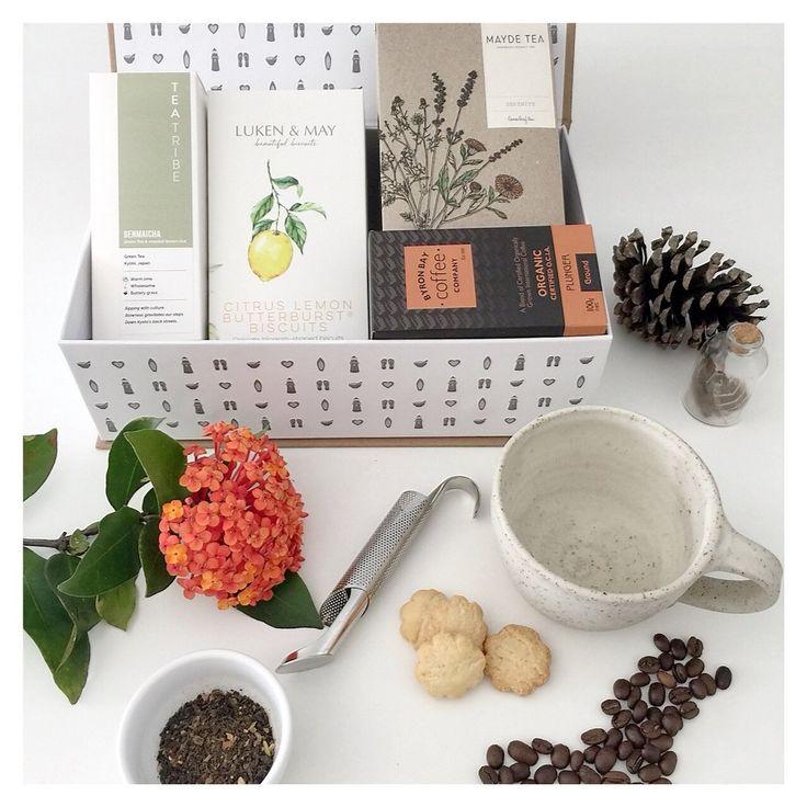 Gifts For You Gift Hamper $99 Luken & May Butterbursts Genmaicha Green Tea Mayde Tea 'Serenity' Organic Plunger Coffee Brooke Clunie Pottery Mug Tea Strainer