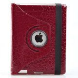 360 Degrees Rotating Stand Leather Smart Case for Apple iPad 2 Red Luxury Crocodile Pattern