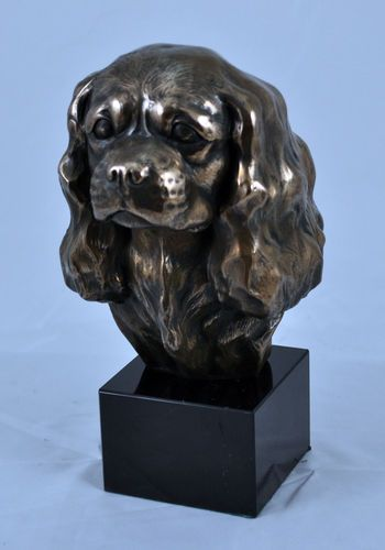 Cavalier Spaniel King on Marble Statue Figurine Sculpture Head Cold Cast Bronze | eBay