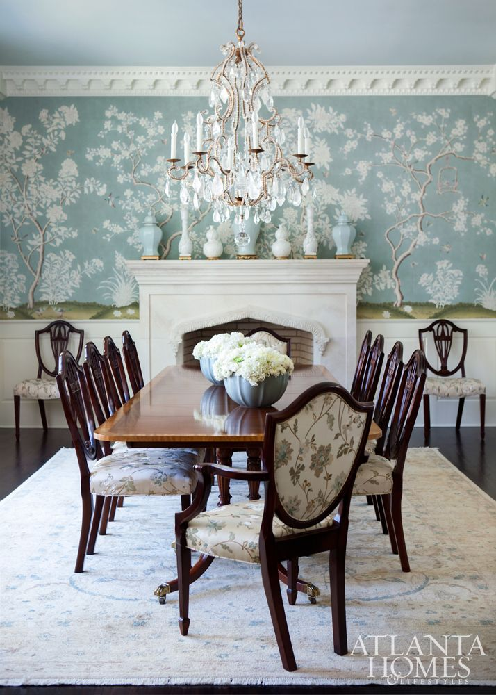 A Celadon Hued Gracie Wallpaper Sets Romantic Tone In The Dining Room Where