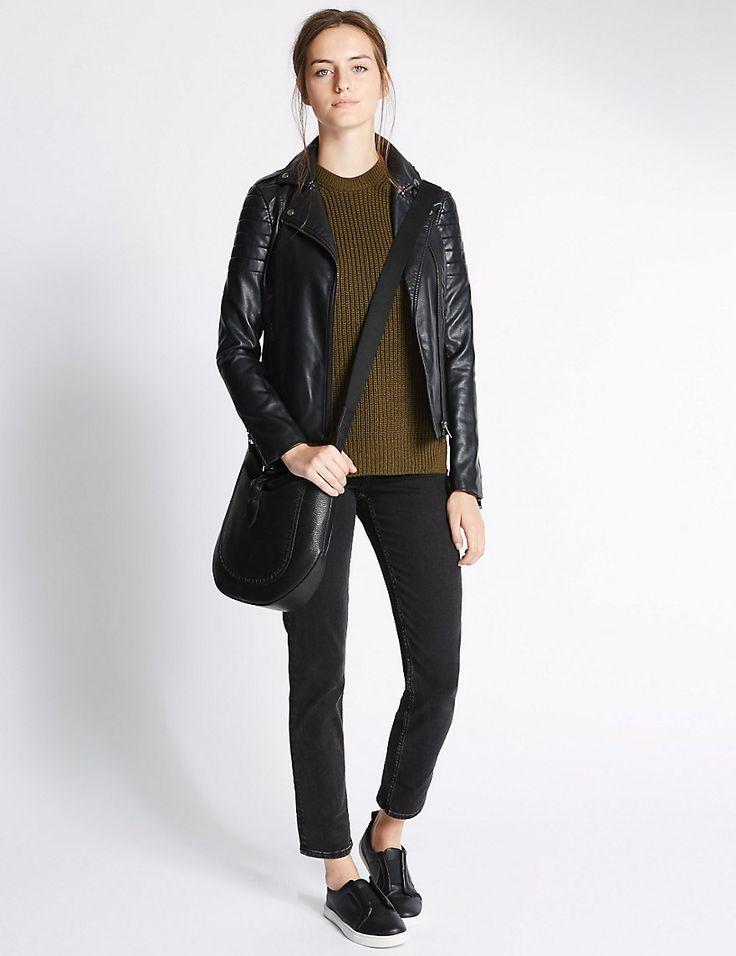 Leather Plait Detail Saddle Bag