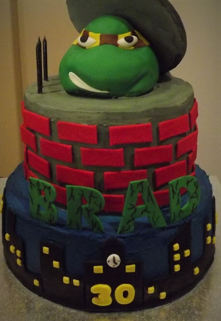 Classic chocolate cake, Hawthorn TMNT topper.