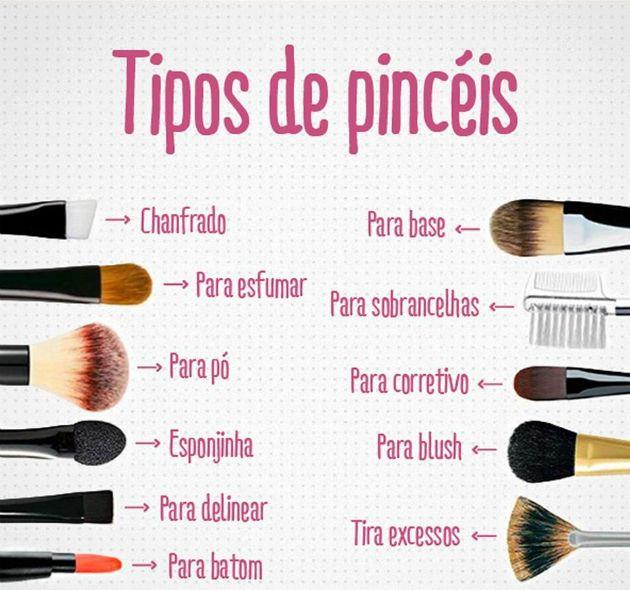 tipos de pincéis de maquiagem e suas funções - Acesse: https://pitacoseachados.wordpress.com -  https://www.facebook.com/pitacoseachados -  #pitacoseachados
