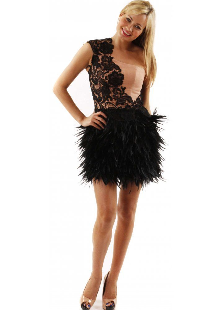 Dress One Shoulder Lace & Feather Dress As Seen On Lucy Mecklenburgh